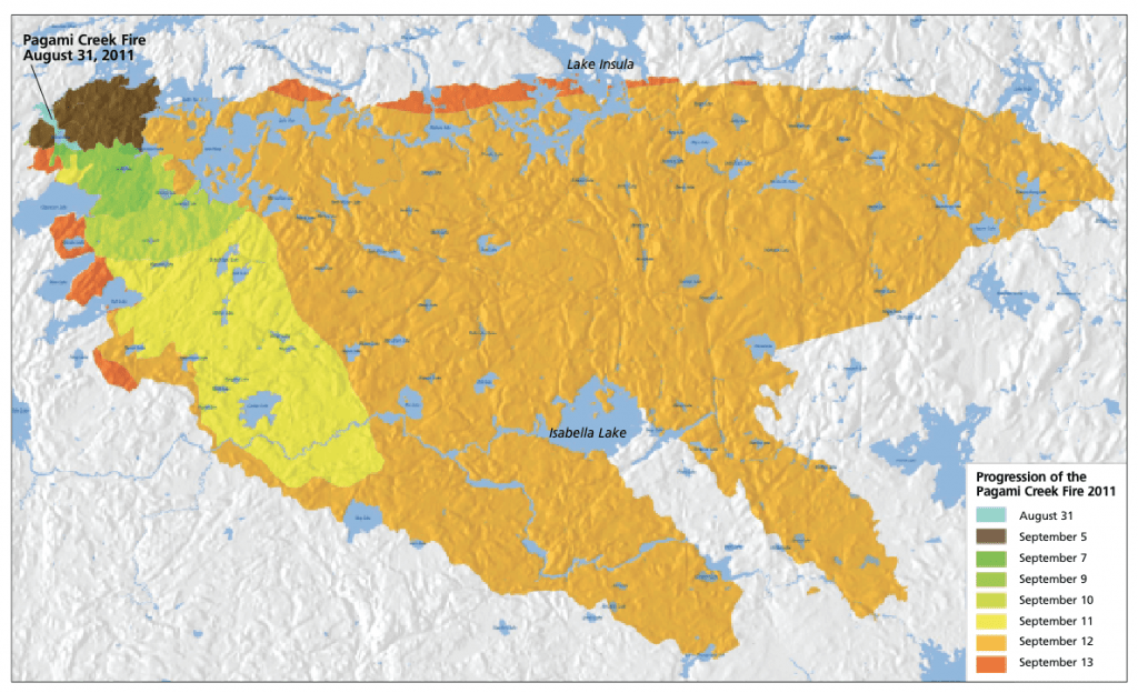 Lake Isabella Fire Map.Pagami Creek Fire In The Bwcaw Quetico Superior Foundation