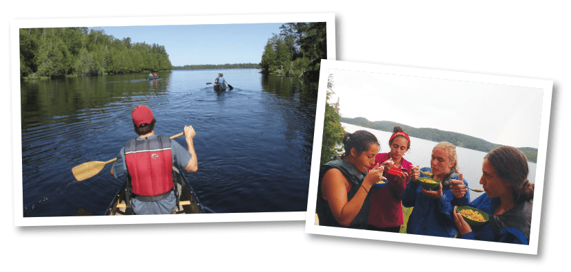 Canoeing through Quetico Provincial Park in Ontario. Right: Trail lunch in northern Canada. All photos courtesy Camp Manito-wish YMCA.