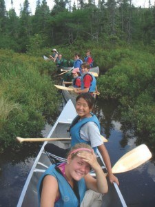 Kate Kincaid (in front) with campers from Wilderness Canoe Base.