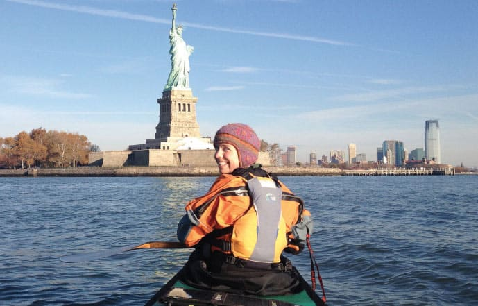 Amy Freeman and the Statue of Liberty.