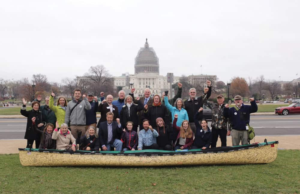 The Freemans and some of the 40 Minnesotans who joined them in Washington, D.C. to speak up for the BWCAW. Photo by Nate Ptacek.