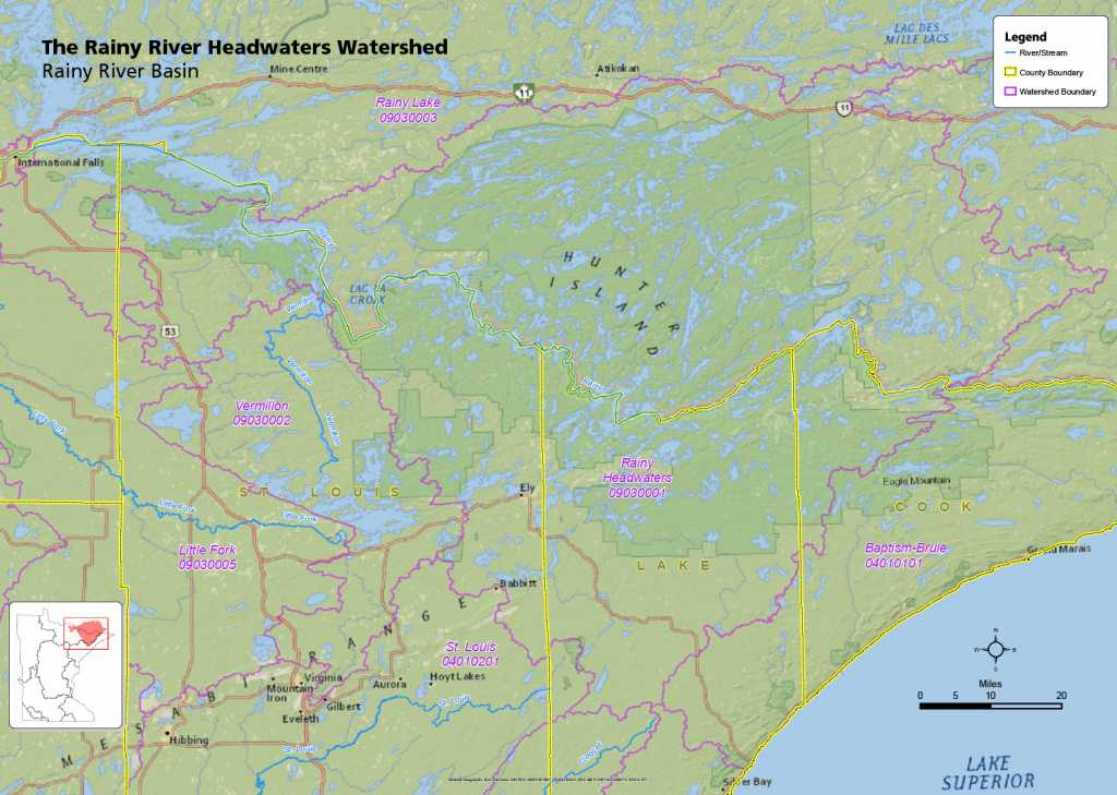 The Rainy River Headwaters Watershed is unique because it includes most of the Boundary Waters Canoe Area Wilderness, all of Quetico Provincial Park, and almost all of Voyageurs National Park. Map courtesy of the the Minnesota Pollution Control Agency.