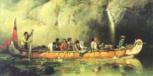 Canoe Manned by Voyageurs Passing a Waterfall, by Frances Anne Hopkins