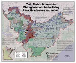 Map of Twin Metals mineral leases in the Boundary Waters and Voyageurs National Park watershed.