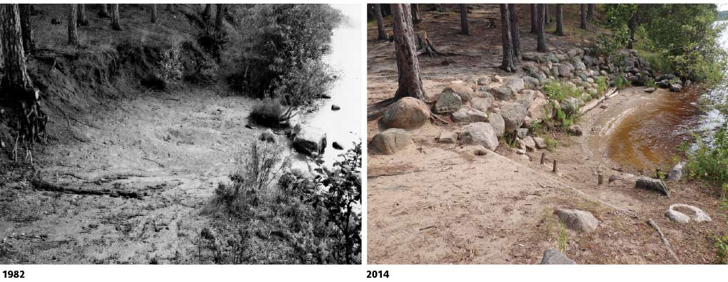 Photos of the same canoe landing in 1982 and 2014 show its eroded state and the intensive restoration performed.