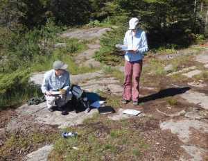 Researchers perform measurements and collect other data about campsite impacts in the Boundary Waters during the 2014 study.