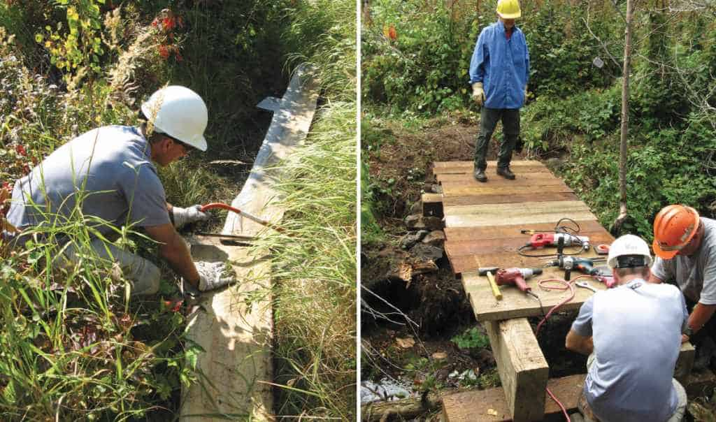 Volunteers with the National Smokejumpers Association work on the construction of the Centennial Trail on the Gunflint Ranger District. Photos courtesy Suzanne Cable, Superior National Forest.