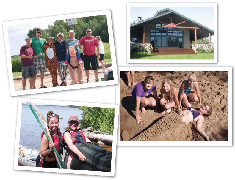 Top left: Costumed counselors greet campers and chaperones at Young's Bay before heading to Laketrails by boat. Upper right: The Great Lodge houses the camp's dining center and is a favorite spot to watch stunning sunsets. Lower right: Middle school campers enjoy some beach activities on their last day in camp. Lower left: Happy campers unload their canoes after a successful adventure.