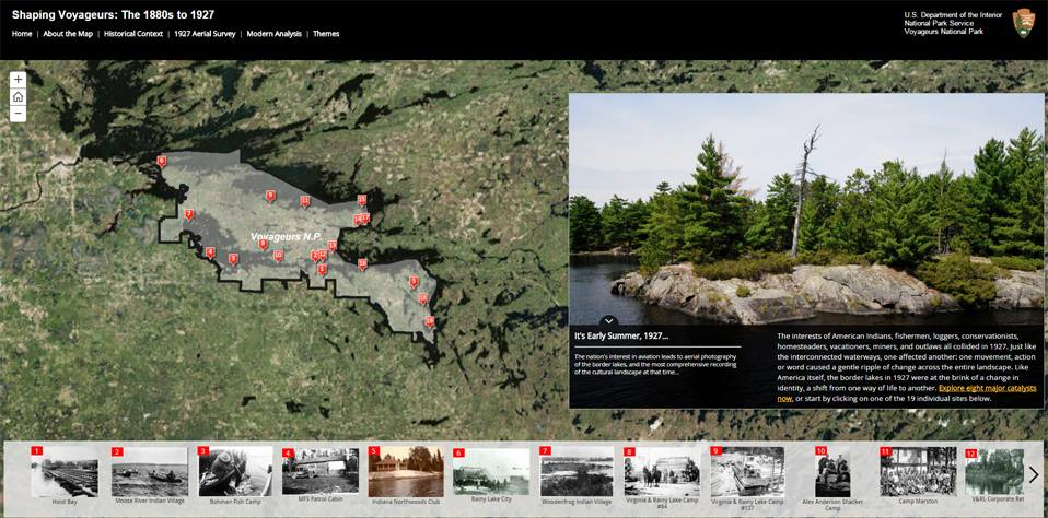 """Shaping Voyageurs"" online historic map of the National Park."