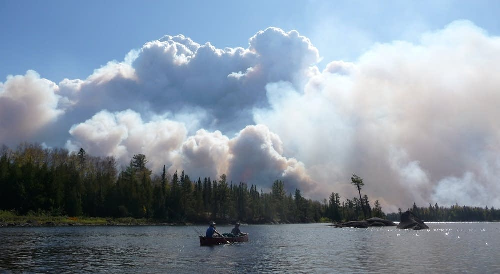 Paddling past the Pagami Creek Fire on Lake Four in September 2011.