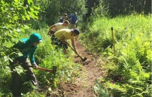 Trail building (Photo courtesy Iron Range Off-Road Cyclists)