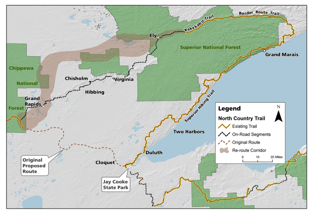"""Map of proposed North Country National Scenic Trail """"Arrowhead Re-Route"""" (Courtesy North Country Trail Association)"""