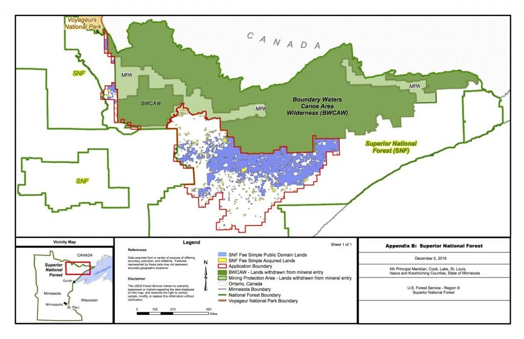 the red line shows the area that would be withdrawn from mining forest service