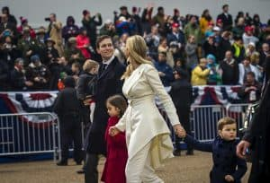 Jared Kushner, Ivanka Trump, and their children walk in the Inauguration Parade on Jan. 20, 2017