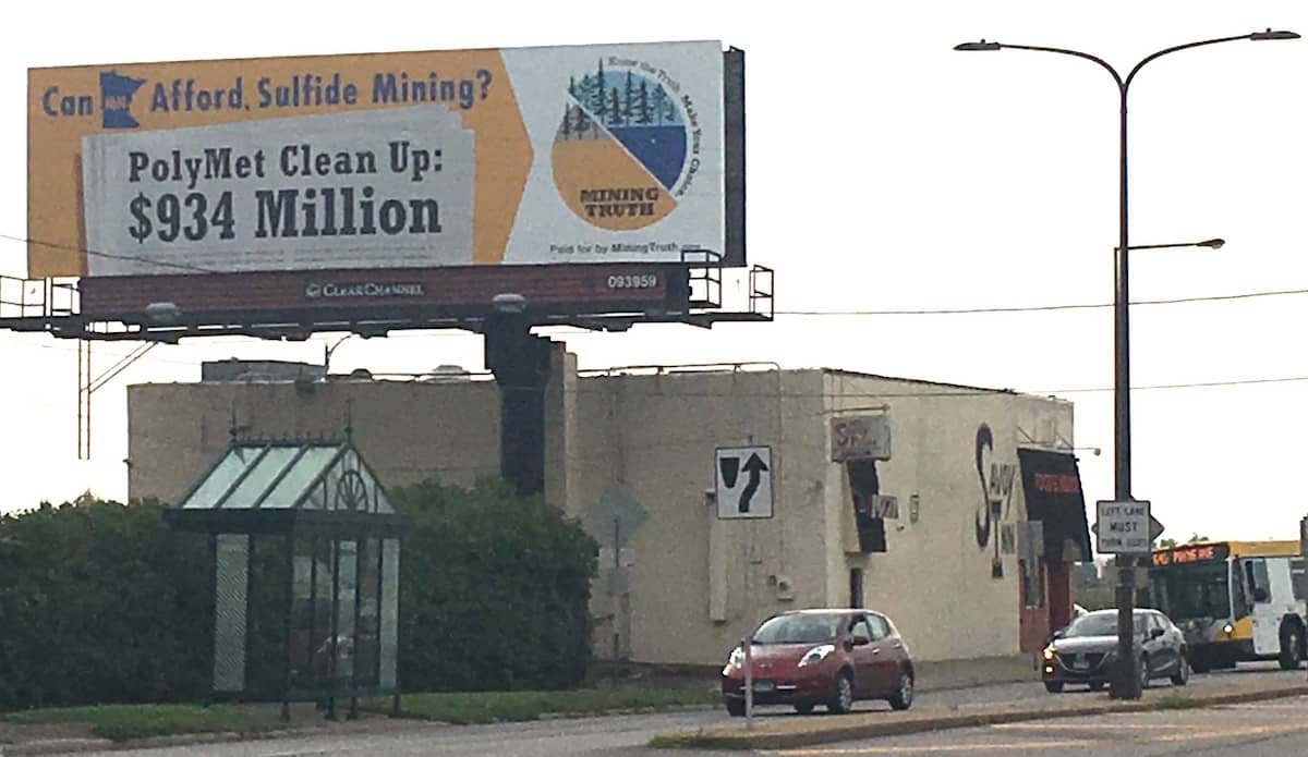 Billboard at intersection of Lafayette Blvd. and East Seventh St. in St. Paul (Courtesy Mining Truth)