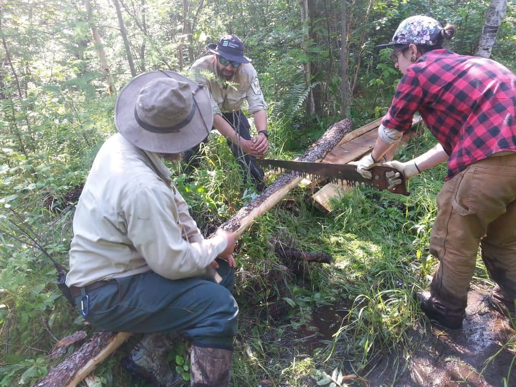Crews work to turn Swamp Portage, along the Path of the Paddle, into something a bit easier to travel. Photo courtesy the Heart of the Continent Partnership.