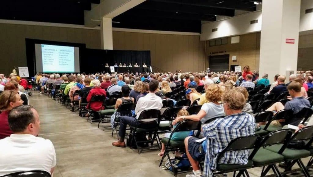 One thousand people attended a public hearing on the proposal in St. Paul in July. Most pro-mining advocates boycotted the event. (Photo by Margaret Smith, used with permission)