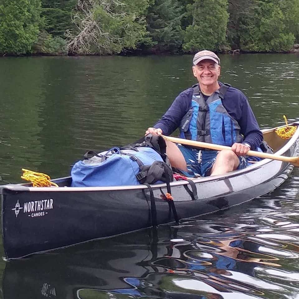 Jerry and his Northstar Magic solo canoe on Caribou Lake in Quetico Provincial Park. Photo courtesy Jerry Vandiver.