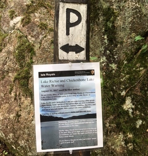 The National Park Service posted warnings for visitors to avoid Richie and Chickenbone lakes.