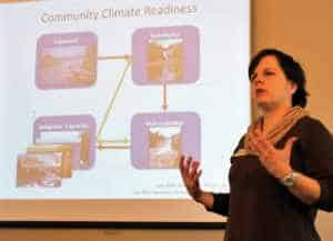 Dr. Mae Davenport, Associate Professor in in the University of Minnesota Department of Forest Resources, presents findings from the North Shore Community Climate Readiness project. Photo by Karen Katz.