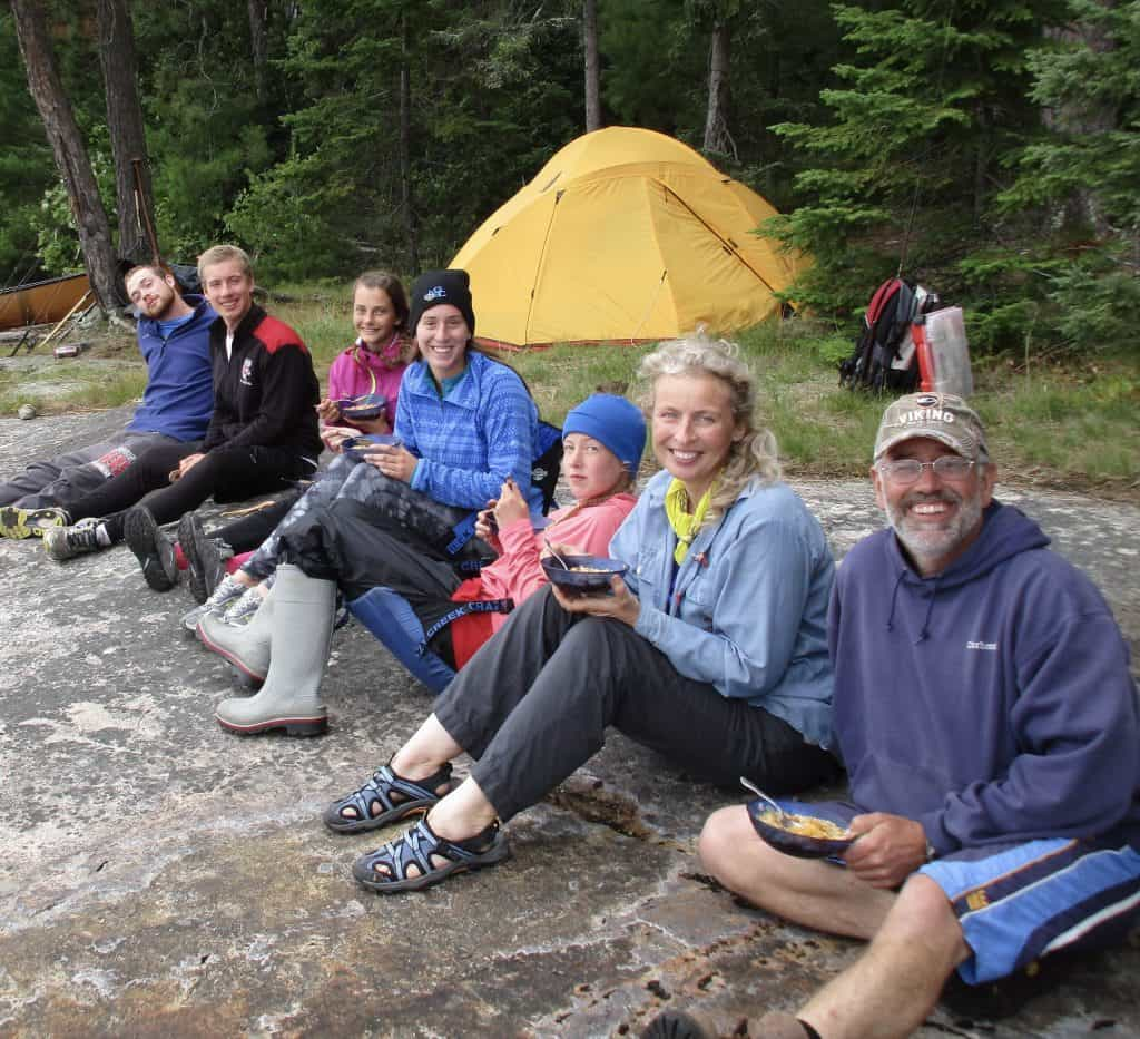 Three generations of the Koscik family in Quetico Provincial Park, including Ken (behind the camera), his son, Ken (right), and his wife Rebecca, Ken's granddaughter Audra and a friend, an exchange daughter from Norway, Ken's grandson Spencer and his friend. Photo by Ken Koscik.