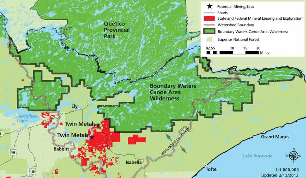 Twin Metals Map / Sulfide Mining Activity in Northeastern Minnesota.
