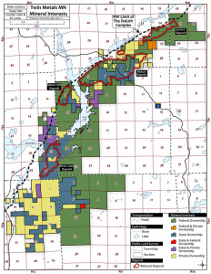 Map of Twin Metals mineral rights ownership, from the project's 2014 Pre-Feasibility Study. (Click to view full-size version, 7.7 MB file)