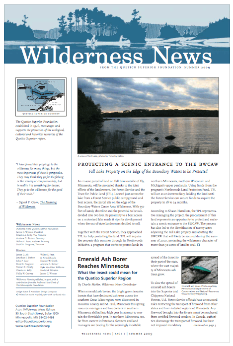 Summer 2009 Issue of Wilderness News | Quetico Superior